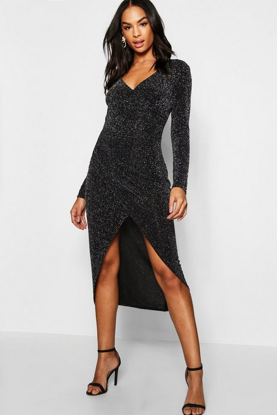 Tall Shimmer Wrap Bodycon Midi Dress