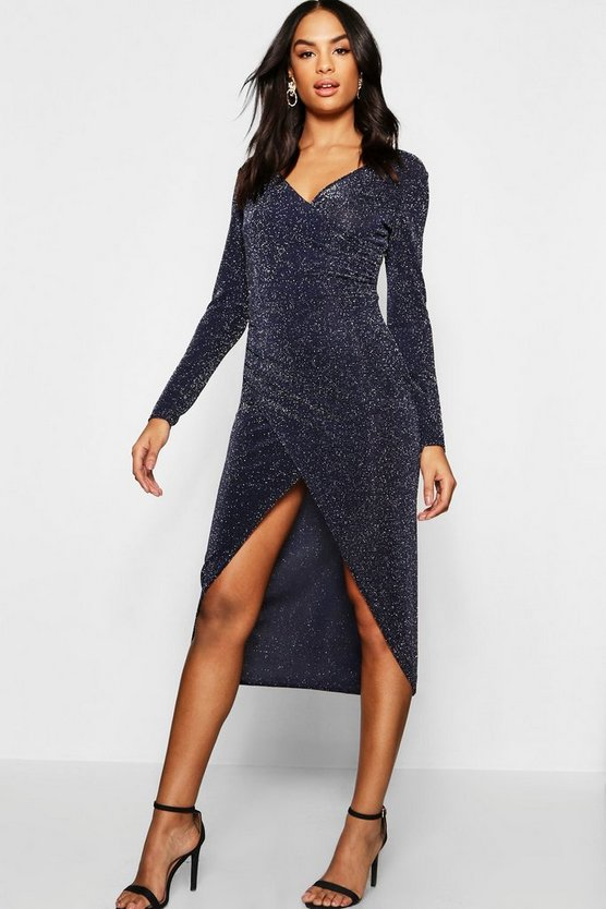 Womens Navy Tall Shimmer Wrap Bodycon Midi Dress