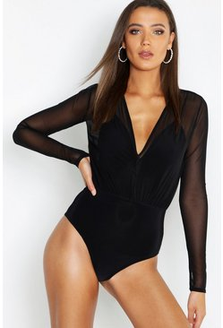 Body en malla 2 en 1 Tall, Negro