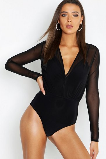 Womens Black Tall Mesh 2 in 1 Bodysuit