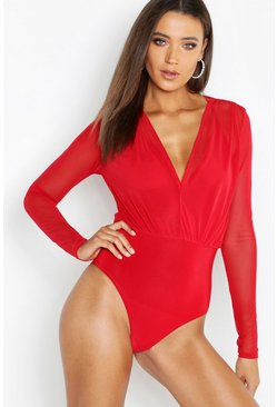 Womens Red Tall Mesh 2 in 1 Bodysuit