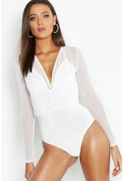 Womens White Tall Mesh 2 in 1 Bodysuit