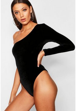 Womens Black Tall One Shoulder Velvet Bodysuit