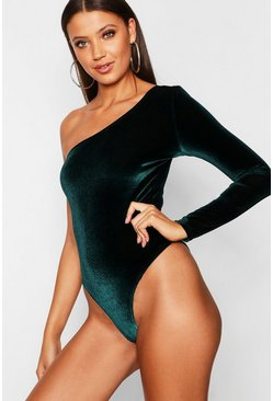 Emerald Tall One Shoulder Velvet Bodysuit