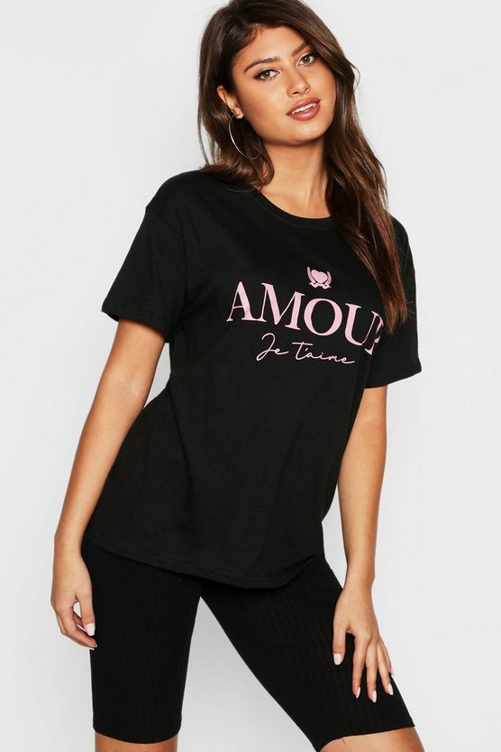 Tall T-Shirt mit Amour Slogan, Schwarz, Damen