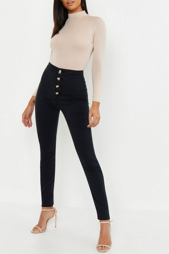 Womens Black Tall Horn Button Skinny Jean