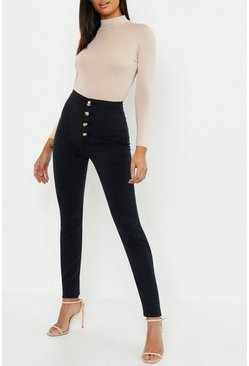 Tall jeans skinny con bottoni in corno, Nero, Femmina