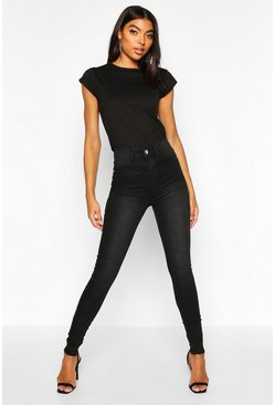 Black Tall Raw Hem Washed High Rise Jegging