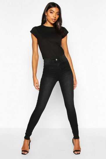 Womens Black Tall Raw Hem Washed High Rise Jegging