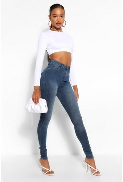 Blue Tall High Waisted Acid Wash Jegging