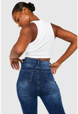 Tall Acid-Wash-Jeggings mit hohem Bund, Blau, Damen