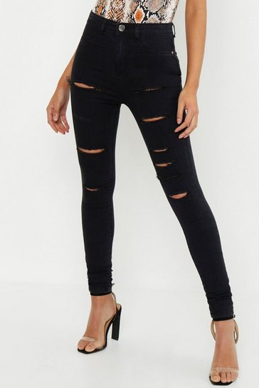 Womens Black Tall Slash Rip Jegging