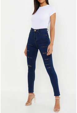 Dam Dark blue Tall - Jeggings med slitna detaljer