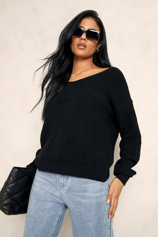 Womens Black Tall Crop Twist Back Sweater