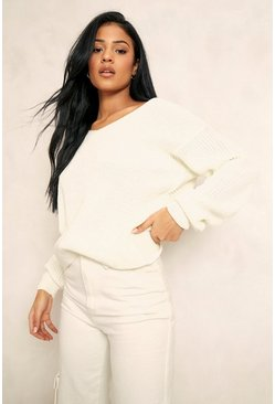 Cream Tall Crop Twist Back Sweater