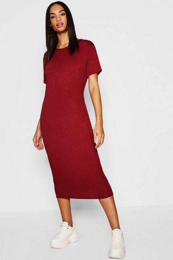 Womens Berry Tall Short Sleeve Midi Dress