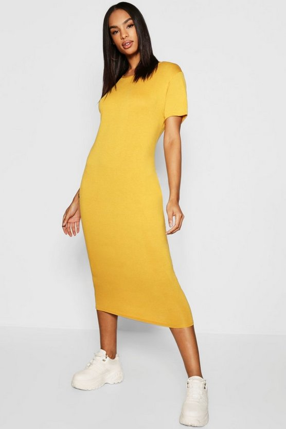 Womens Mustard Tall Short Sleeve Midi Dress
