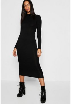 Womens Black Tall High Neck Bodycon Midi Dress