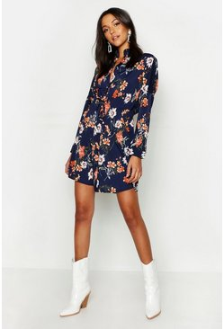 Womens Navy Tall Floral Shirt Dress