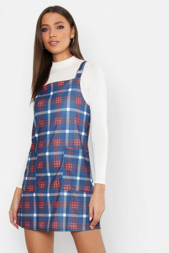Womens Navy Tall Check Print Buckle Pinafore Dress