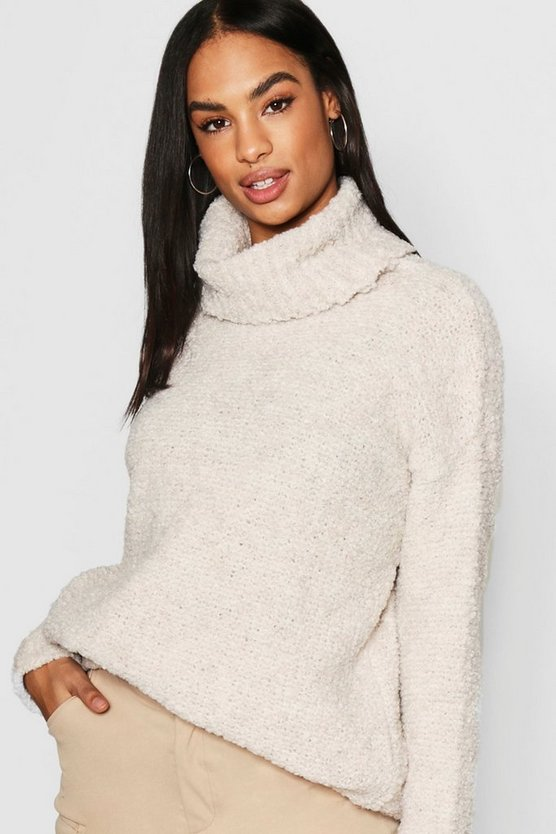 Tall Bobble Knit Oversized Roll Neck Jumper