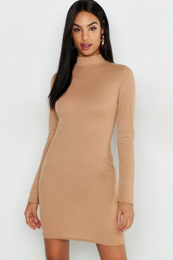 Womens Camel Tall Long Sleeve High Rib Bodycon Dress