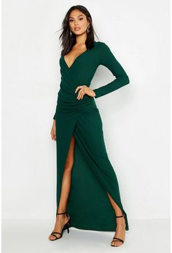 Tall Plunge Ruched Detail Maxi Dress, Emerald, Donna