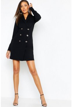 Womens Black Tall Button Front Blazer Dress