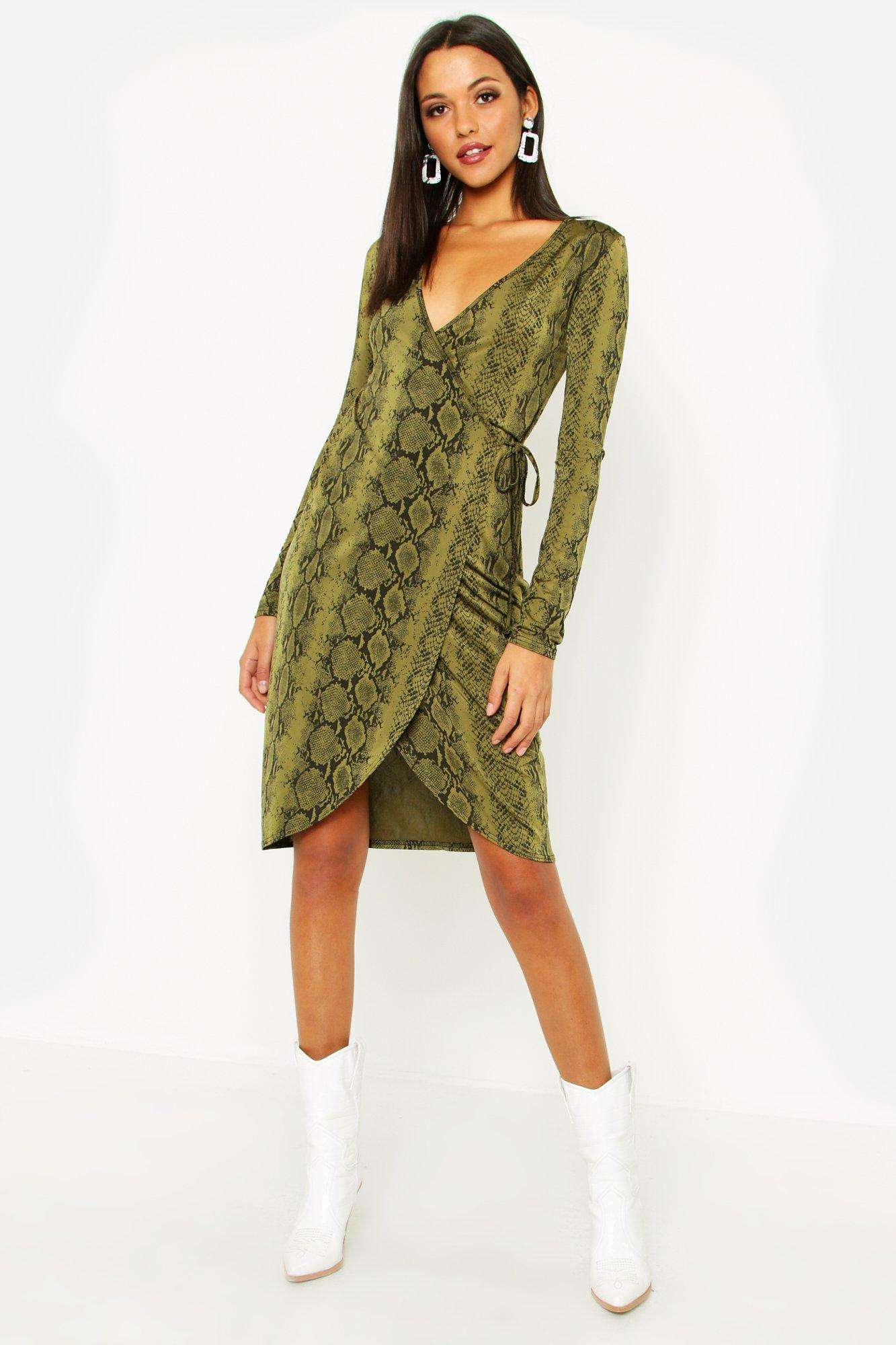 Tall Tie Waist Snake Print Wrap Dress