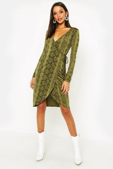 Womens Khaki Tall Tie Waist Snake Print Wrap Dress