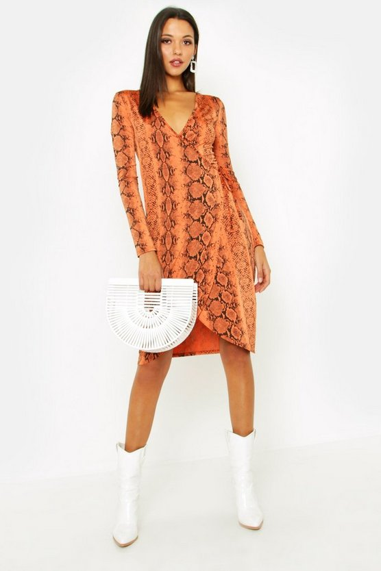 Womens Rust Tall Tie Waist Snake Print Wrap Dress