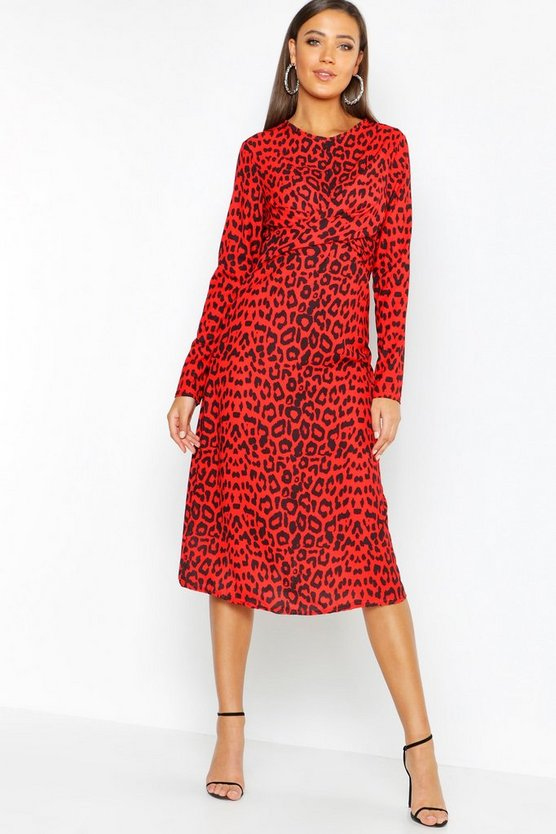 Womens Red Tall Knot Front Leopard Dress