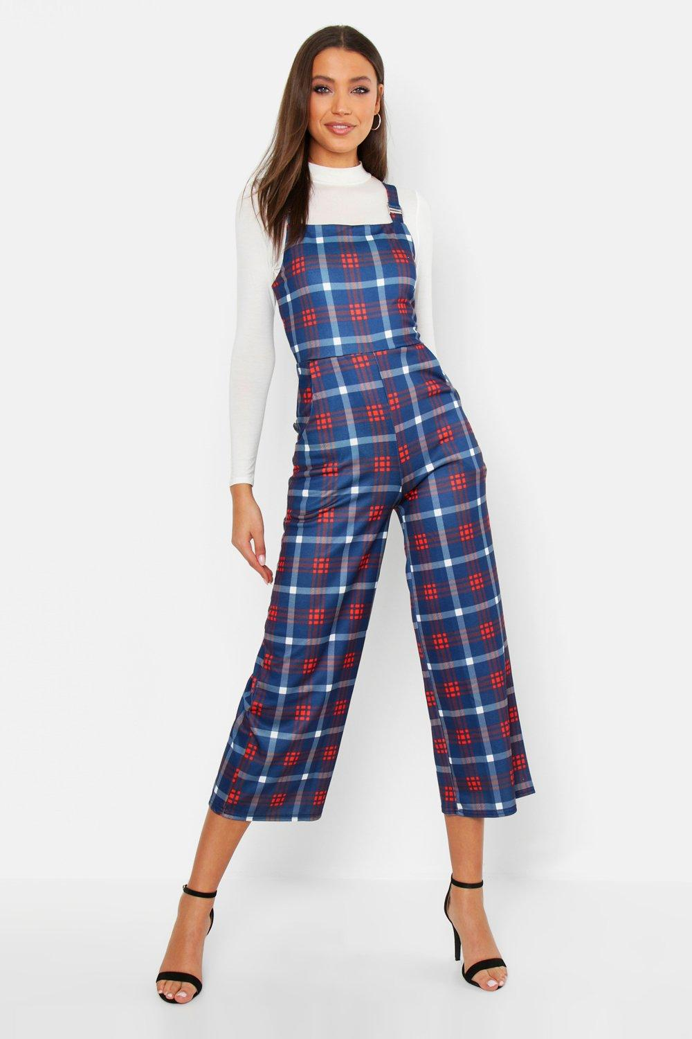 Tall Check Print Pinafore Culotte Jumpsuit