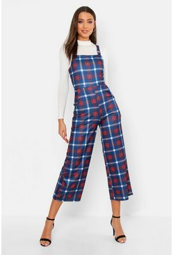 Womens Navy Tall Check Print Pinafore Culotte Jumpsuit