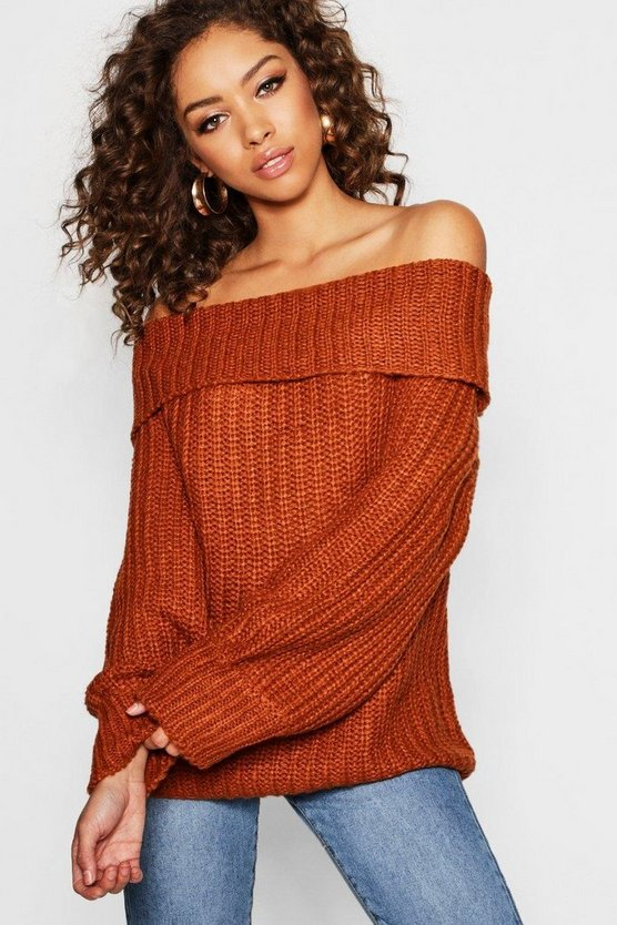 Tall Off The Shoulder Fisherman Jumper