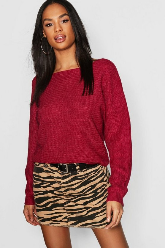 Womens Magenta Tall Rib Batwing Jumper