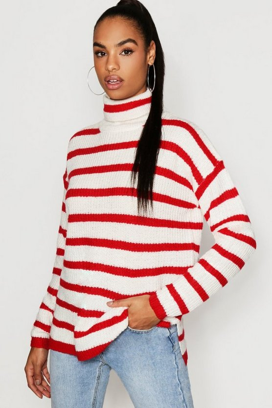 Tall Stripe Turtle Neck Jumper