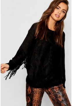 Womens Black Tall Fringe Sleeve Cable Sleeve Cable Knit Jumper