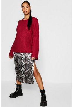 Tall Flared Sleeve Fishman Knit Crew Neck Jumper, Berry, Donna