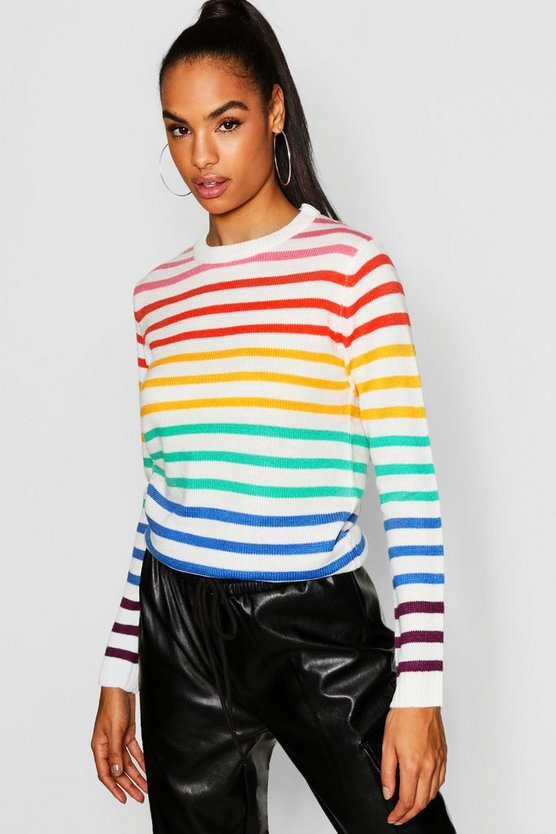 Womens Ecru Tall Rainbow Stripe Sweater