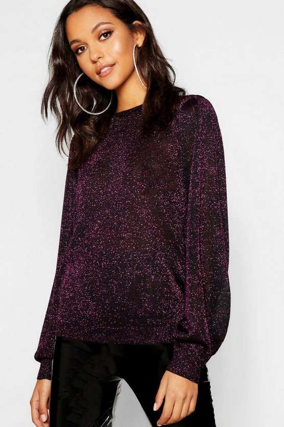 Tall Metallic Balloon Sleeve Jumper, Magenta, Donna