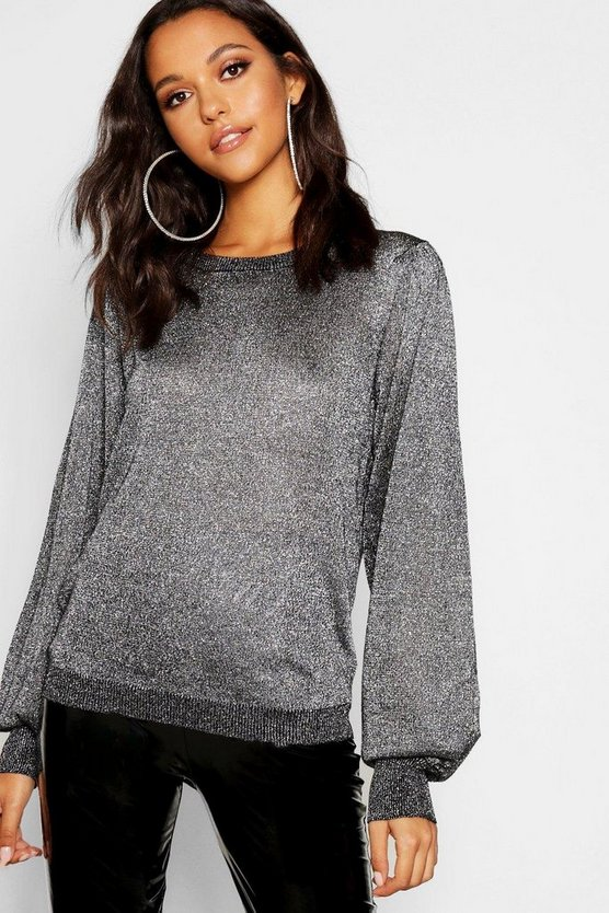 Womens Silver Tall Metallic Balloon Sleeve Jumper
