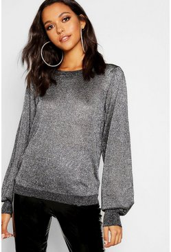 Tall Metallic Balloon Sleeve Jumper, Silver, Donna