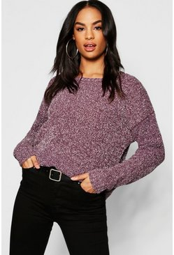 Womens Burgundy Tall Metallic Yarn Chenille Jumper