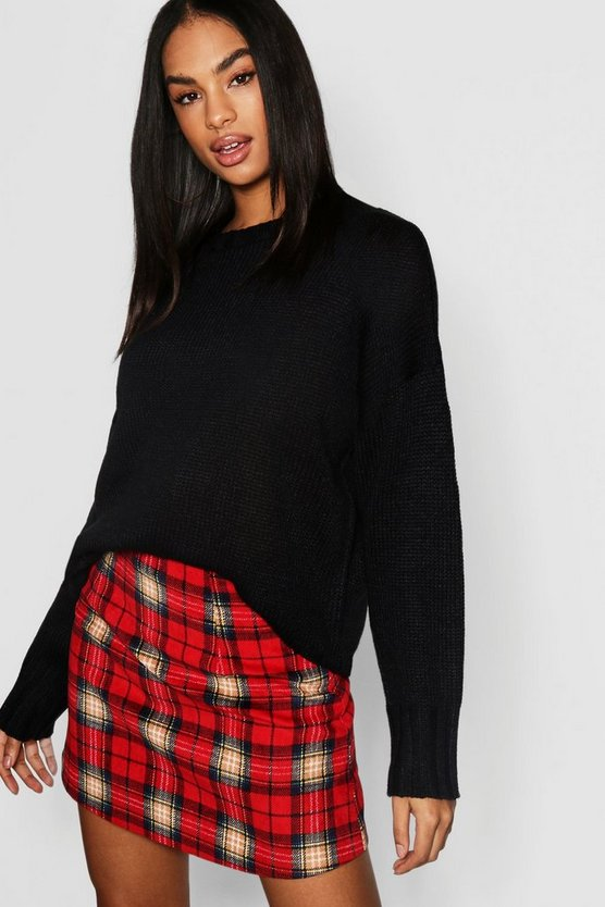 Black Tall Seam Detail Oversized Sweater