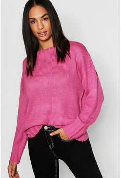 Womens Rose pink Tall Seam Detail Oversized Sweater