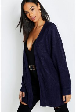 Womens Navy Tall Cable Knit Cardigan