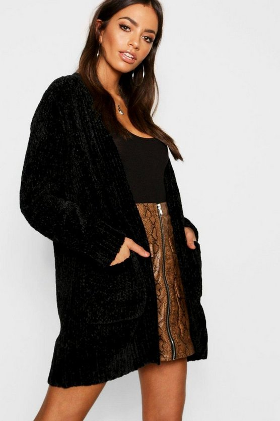 Womens Black Tall Chenille Cardigan
