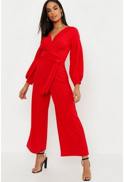 Womens Red Tall Off The Shoulder Culotte Jumpsuit