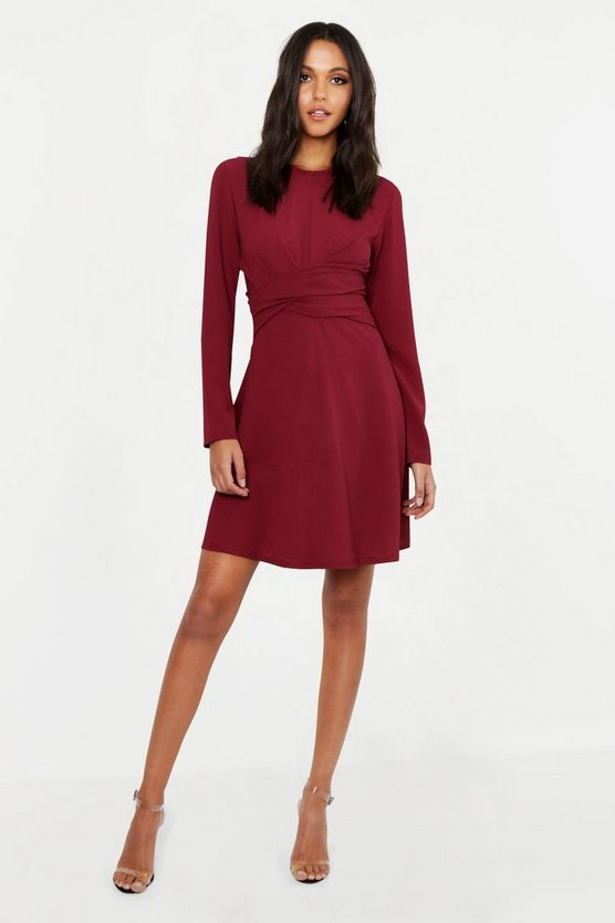 Berry Tall Wrap Front Woven Skater Dress